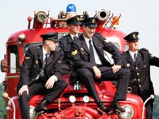 Vier brandweermannen