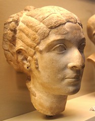 RRC 543 portrait bust of Cleopatra VII on display in the British Museum