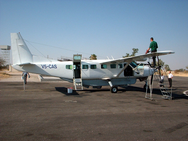 Ondangwa Namibia  city pictures gallery : Air Namibia Cessna C208B Grand Caravan aircraft refuelling at Ondangwa ...