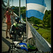 WorldOnaBike break on bridge, Honduras