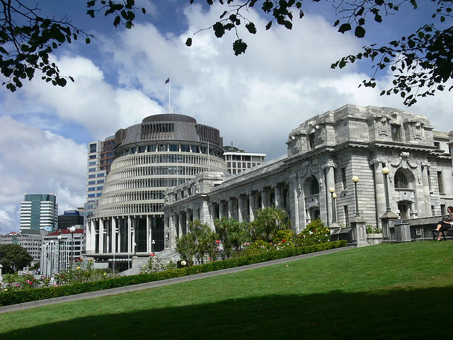 Beehive and Parliament house, Wellington, New Zealand