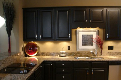 Kitchen makeover 2 flickr photo sharing for Painting kitchen cabinets black