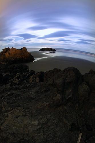 longexposure sea newzealand christchurch sky cliff beach water night rocks fisheye caverock