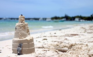 a castle of sand in Mauritius
