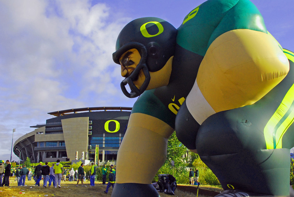 A giant inflatable figure outside the University of Oregon football stadium.