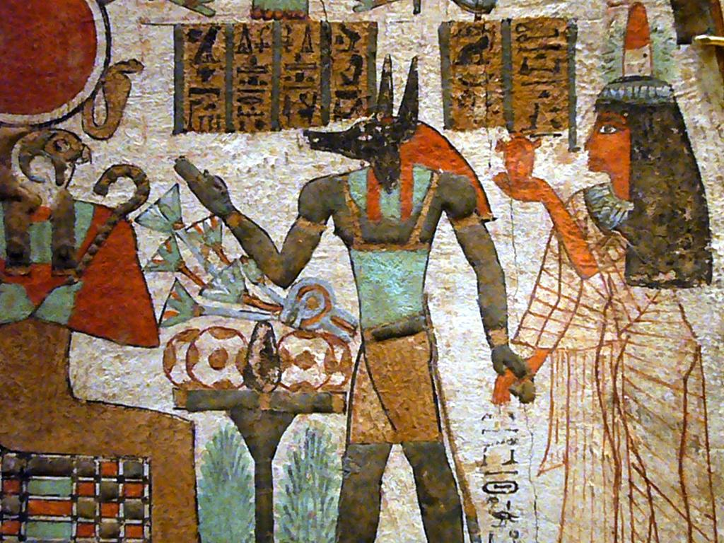 Ancient egyptian wall painting depicting anubis a photo for Egyptian mural art
