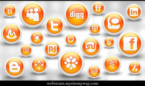 Webtreats 108 Free Glossy Orange Orb Social Media Icons