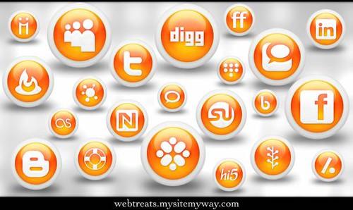 Webtreats 108 Free Glossy Orange Orb Social Media Icons