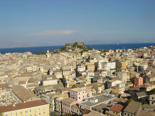 view of Corfu old town from New Fortress