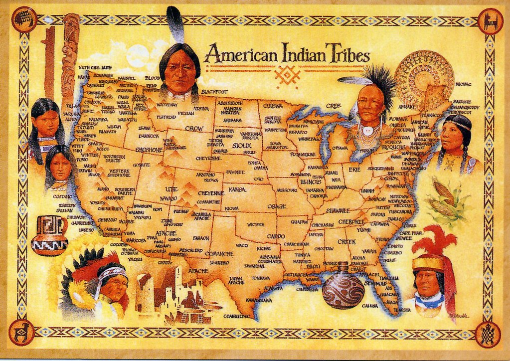 American Indian Tribes Map Card