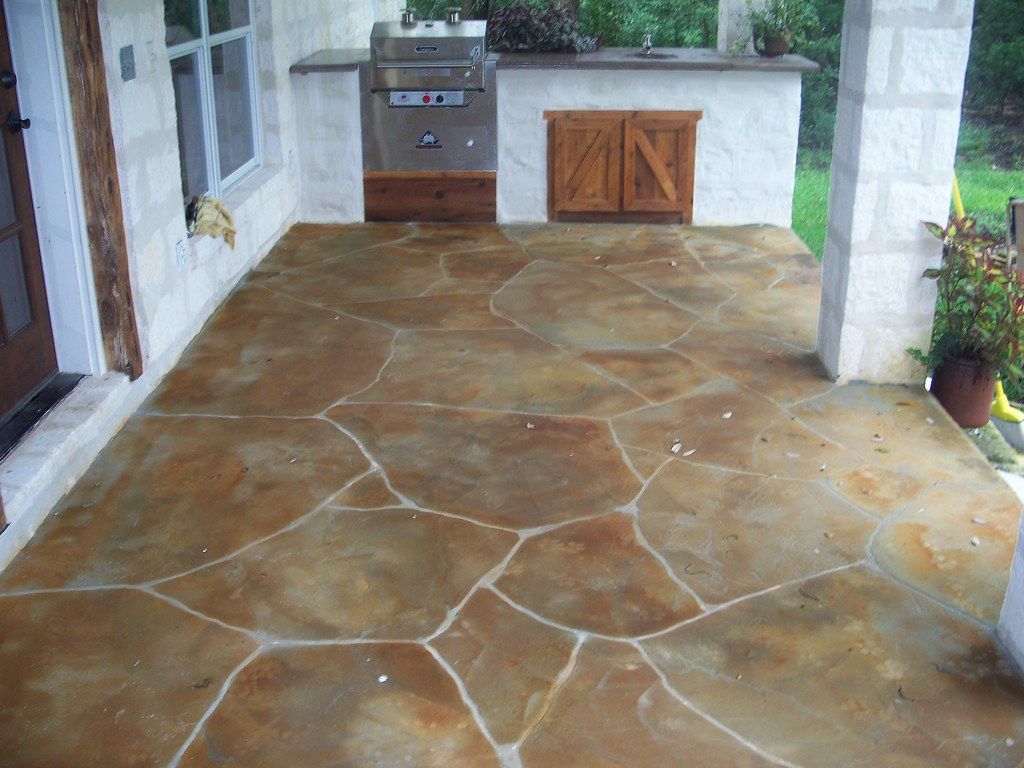 Out Door Kitchen Faux Stone Patio | Faux Stone Overlay On Ba ...