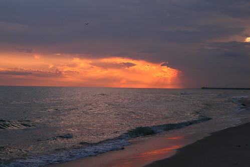ocean sunset beach water birds clouds pier nc sand waves seagull northcarolina atlantic longbeach sunrays oakisland sigma1850mmf28exdcmacro