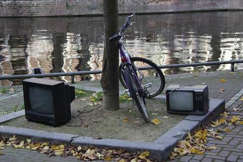 Bike and old TVs