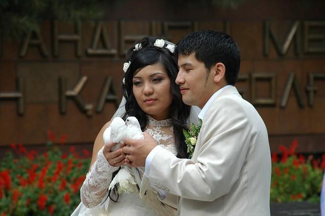 Kazakh Newlywed Couple Holding Doves - Almaty, Kazakhstan