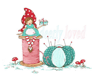 little red riding hood~ sweetly sitting on a spool!