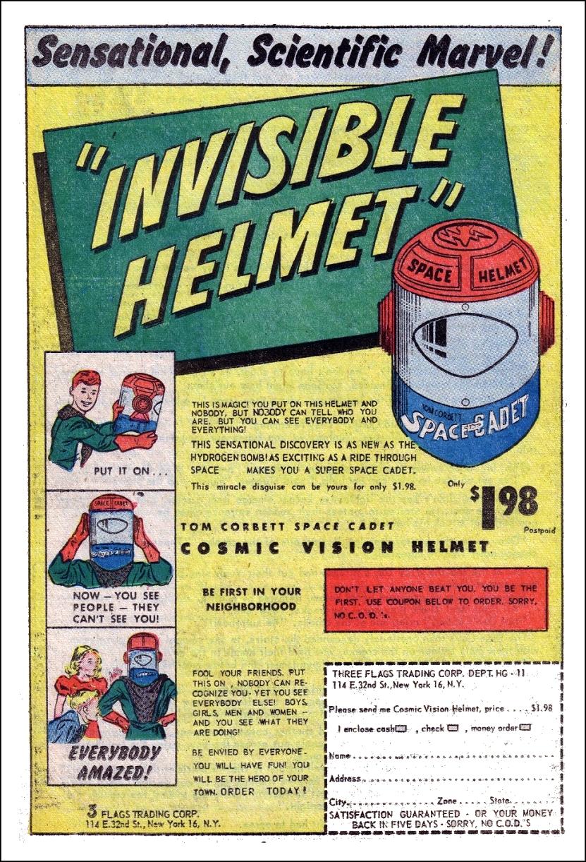 Tom Corbett Cosmic Vision Helmet Invisible Helmet ad