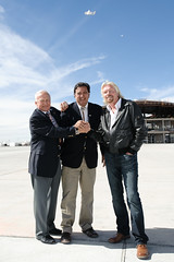 Buzz Aldrin, Governor Richardson and Sir Richard Branson. Photo by Jeffrey Vock