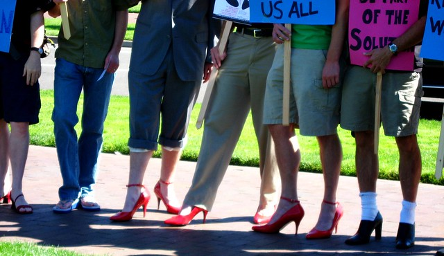 A Walk a Mile in Her Shoes men's march to raise awareness about rape, sexual assault, and gender.
