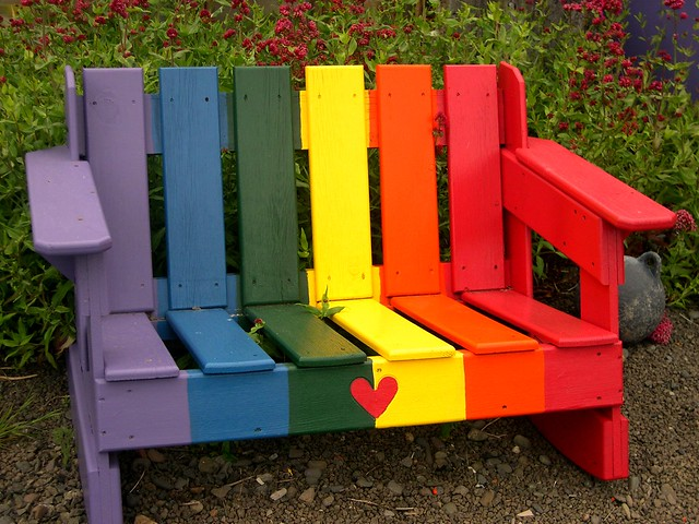 rainbow love bench, yachats oregon