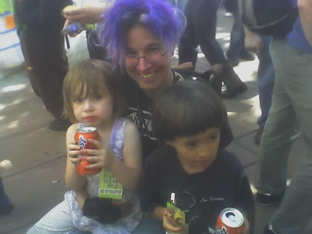 festooned with kids