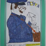 Child's Drawing at Post Office - Almaty, Kazakhstan