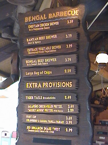 Bengal Barbecue menu prices, Adventureland, Anaheim, Disneyland®, California, 2007.01.30