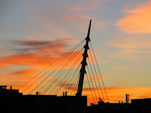 above city trip travel bridge summer sky urban orange usa west color america sunrise canon season photo colorado downtown shot capital picture favorites denver millenniumbridge september photograph co 2007 rockys speerblvd