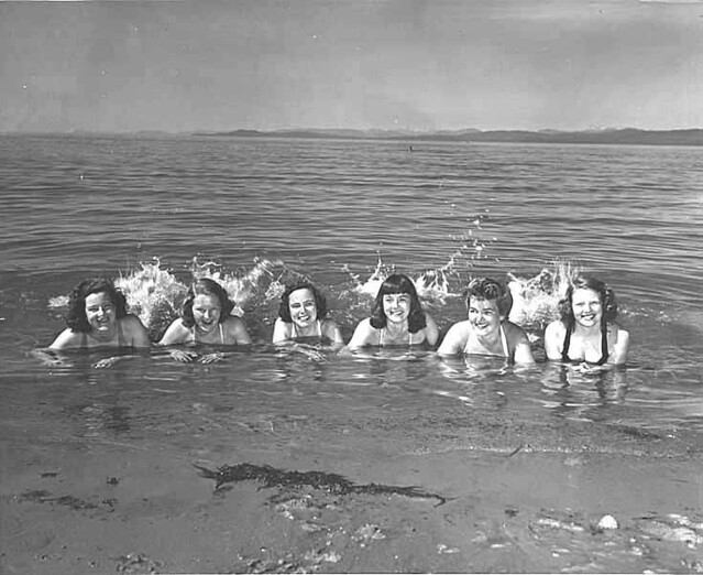 Women in the water at Qualicum Beach, Vancouver Island