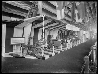 Harley-Davidson motorcycle display, Olympia Motor Show, King Edward Barracks, Christchurch, November 1921