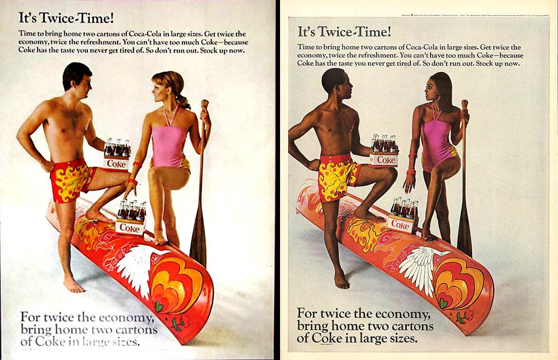 1968 Coca-Cola Psico Canoe Ad White and 1969 Black