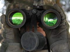 binoculars, personal protective equipment, green,
