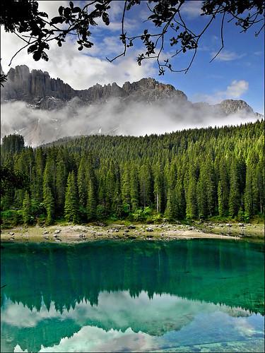 world trees 2 italy lake mountains reflection green heritage water site italia unesco gi trentino dolomites südtirol altoadige lagodicarezza karersee latemar