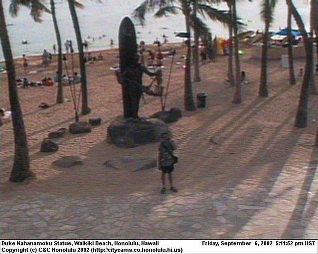 That's Me on a Waikiki Webcam. Thanks to erglantz in New Jersey for ...