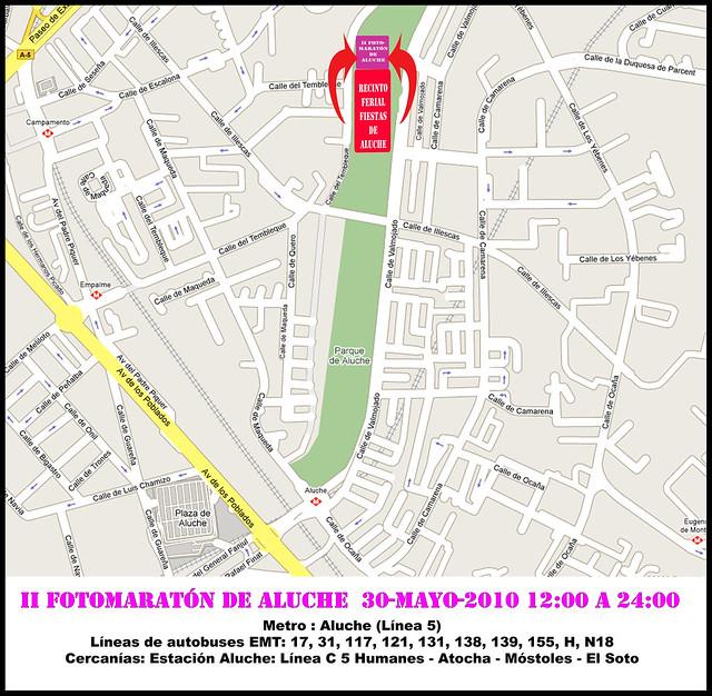 Plano para llegar al II Fotomaratón de Aluche