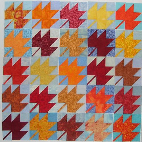 Leaf Quilt Pattern Blocks : Free Patterns from Sophie Junction: Maple Leaf Blocks