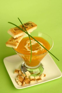 Cream of pumpkin and carrot soup with garlic and parsley butter toast