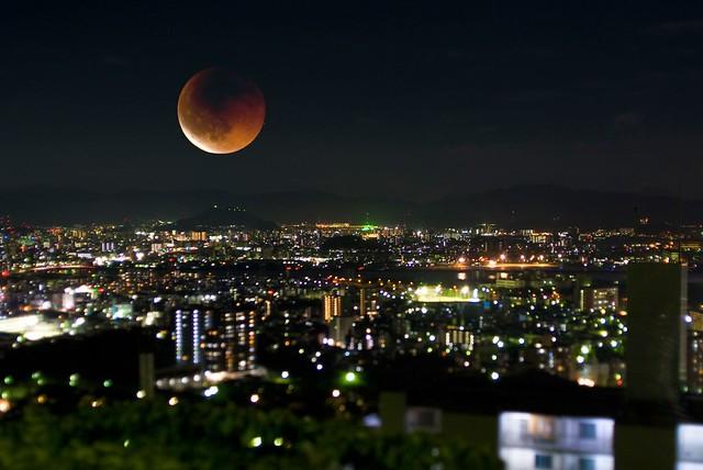 皆既月食at広島