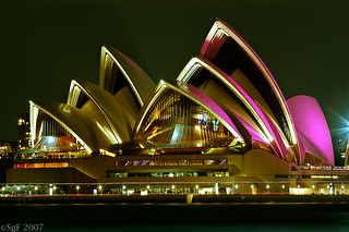 Pink Lights on the Opera House