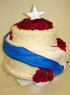 Patriotic Flag Cake with Star and Fresh Flowers