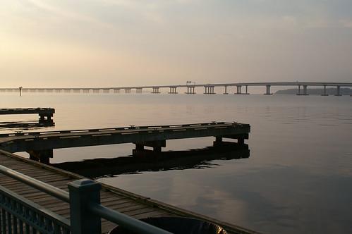 bridge water sunrise harbor
