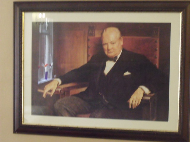 Bletchley Park House - Mansion - portrait of Winston Churchill