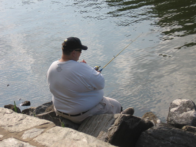 fat guy fishing at lake needwood md flickr photo sharing