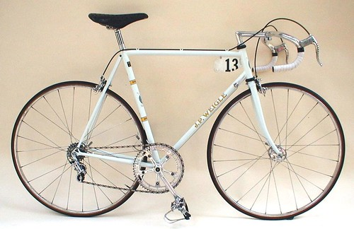 1970's Time Trial bike, single ring, indented seat tube for wheel clearance, milled and drilled Campagnolo  crankset.