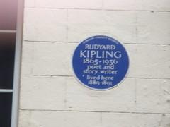 Photo of Rudyard Kipling blue plaque