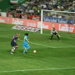Lionel Messi: Messi races clear, heading for goal...