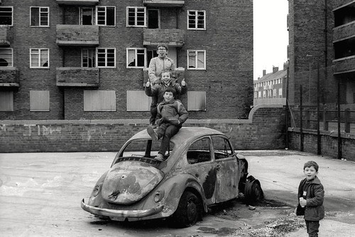 4 boys on Beetle, Vauxhall Rd area, early 80's