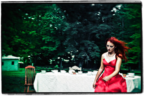 trees blur fashion female vintage outdoors nc redhair glamor reddress teaparty whimsical maxine sarcasm flowinghair negativeframe