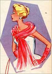 the 1950s-red scarf and gloves