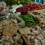 Garlic and Peppers at Zalyony Bazaar - Almaty, Kazakhstan