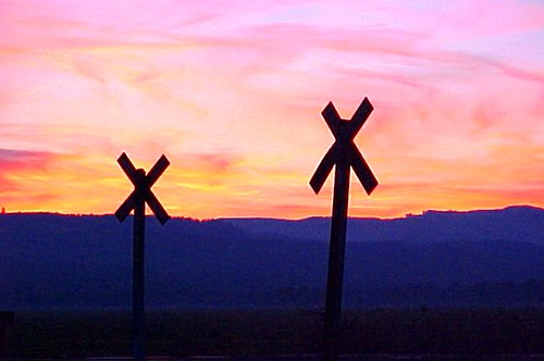 Railroad Crossing Signs at Sunset - Corvallis, Oregon, USA